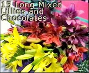15 Mixed Coloured Lillies with Chocolates