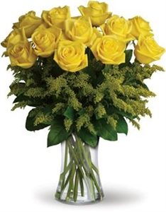20 Yellow Roses with Greenery Vase Included
