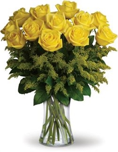20 Yellow Roses with Greenery (Vase Included)