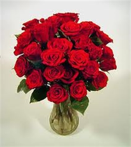24 Red Roses with Greenery Vase Included
