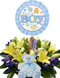 Baby Boy Basket Arrangement with Teddy