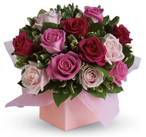 Box of Pink & Red Roses with Greenery