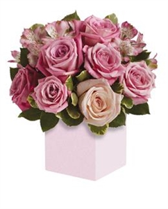 Box of Pink & White Roses with Greenery