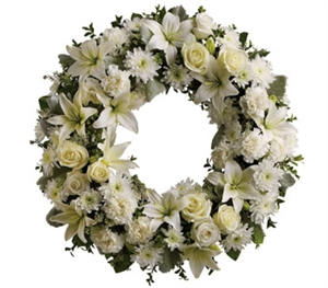 White and Cream Sympathy Wreath